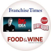 Image of logos for the Franchise Times, Food Network, Big Idea, Unwrapped, Food and Wine